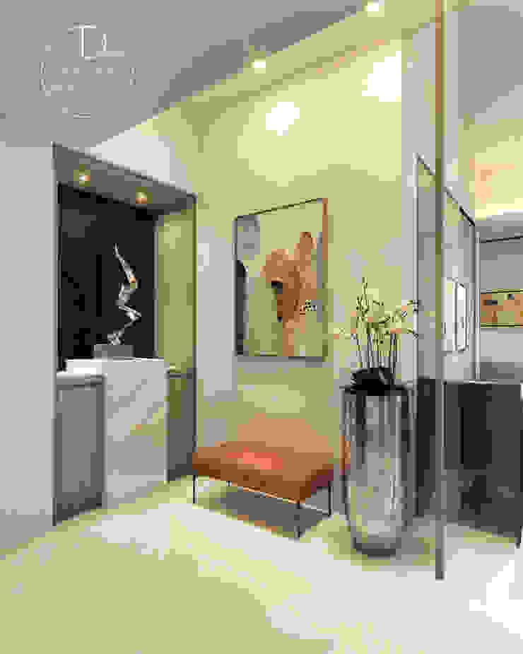 玄關/大理石/烤漆玻璃/奢華風 現代風玄關、走廊與階梯 根據 木博士團隊/動念室內設計制作 現代風
