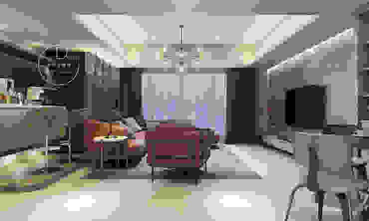 客廳/大理石/歐式系統傢俱/烤漆玻璃/奢華風 现代客厅設計點子、靈感 & 圖片 根據 木博士團隊/動念室內設計制作 現代風