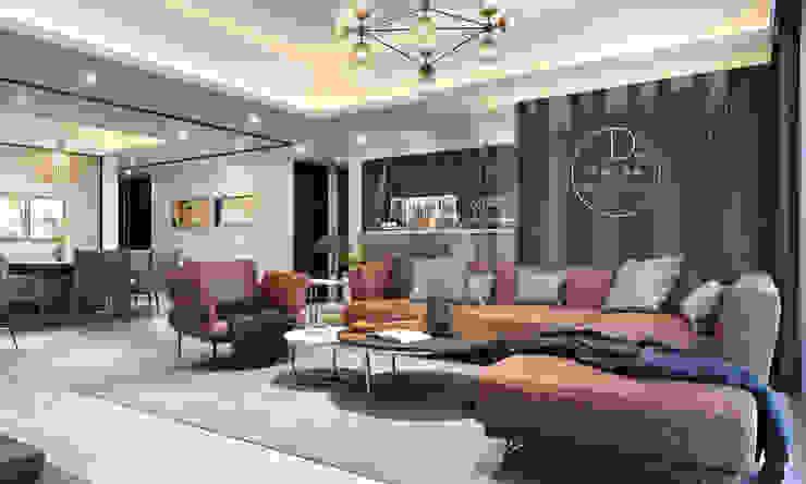 客廳/餐廳/吧台/烤漆玻璃/奢華風 现代客厅設計點子、靈感 & 圖片 根據 木博士團隊/動念室內設計制作 現代風