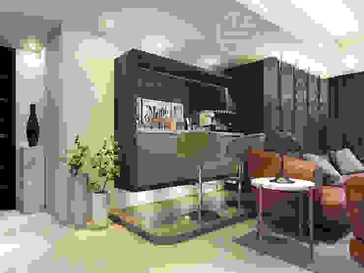 客廳/吧台/歐式系統傢俱/超耐磨木地板/奢華風 现代客厅設計點子、靈感 & 圖片 根據 木博士團隊/動念室內設計制作 現代風