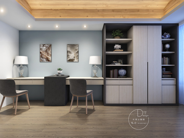 書房/歐式系統傢俱/辦公空間/書櫃/化粧檯/奢華風 根據 木博士團隊/動念室內設計制作 現代風
