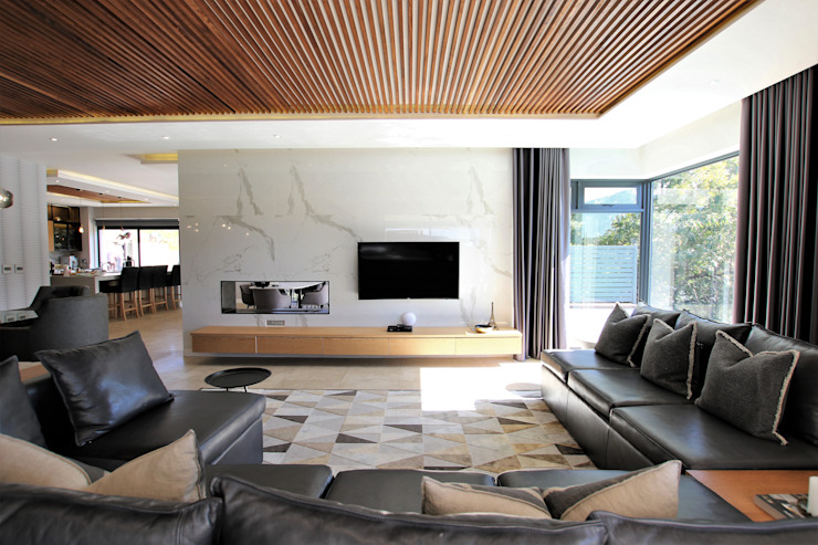 TV Lounge with Gas Fireplace JSD Interiors Modern living room Marble White
