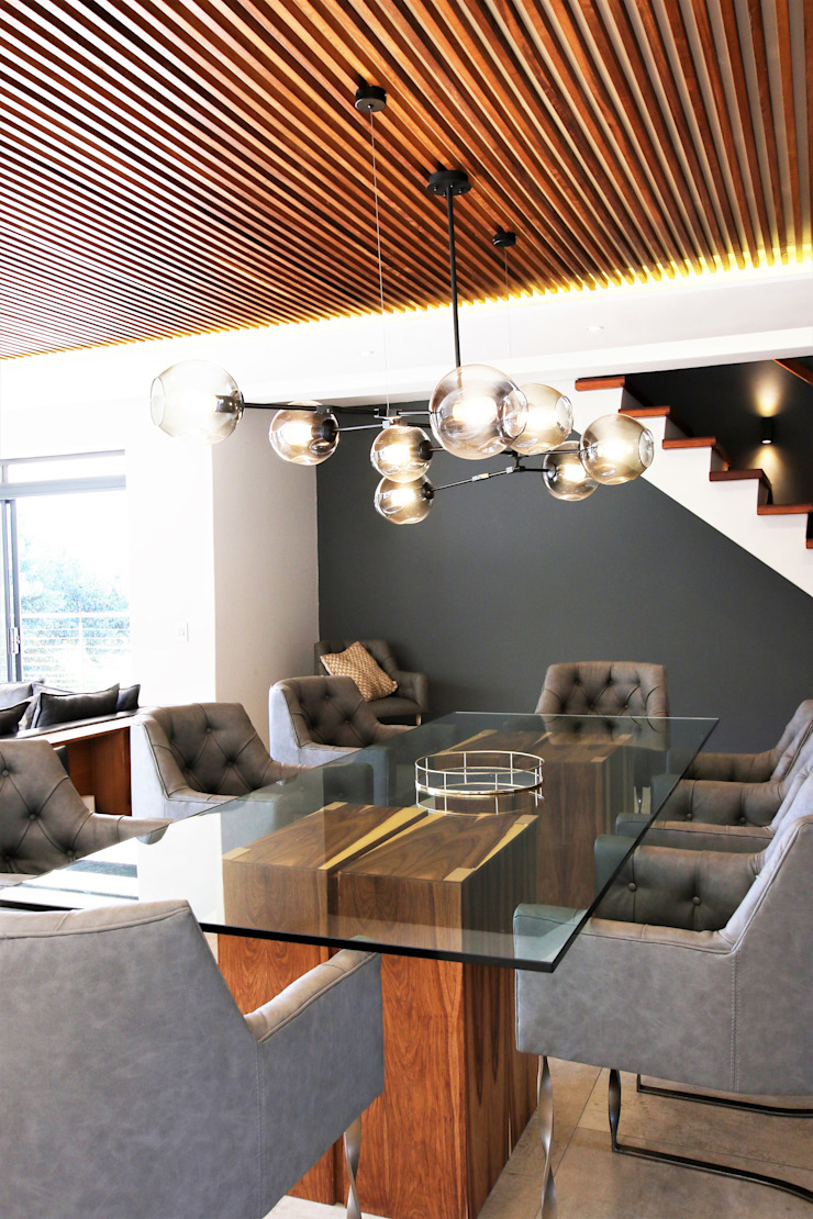 Formal Dining room JSD Interiors Modern dining room Wood Grey