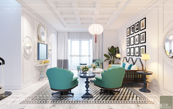 Thiết kế biệt thự theo phong cách Đông Dương – Vẻ đẹp giá trị thời gian Phòng khách phong cách châu Á bởi ICON INTERIOR Châu Á