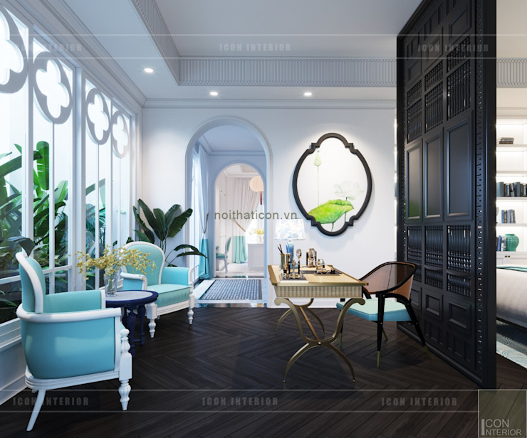 Thiết kế biệt thự theo phong cách Đông Dương – Vẻ đẹp giá trị thời gian Phòng giải trí phong cách châu Á bởi ICON INTERIOR Châu Á