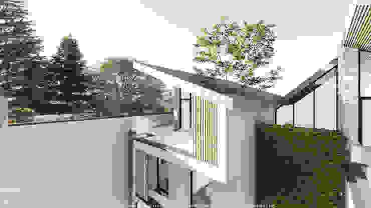 Volume com cobertura inclinada em edifício de habitação colectiva por OGGOstudioarchitects, unipessoal lda Moderno Madeira Acabamento em madeira