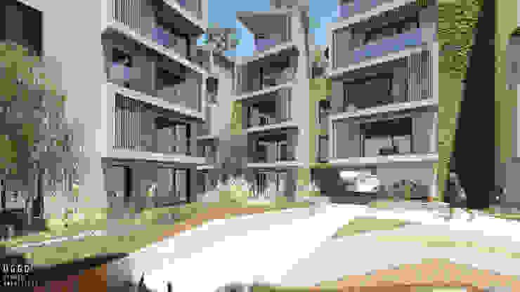 Praça central do projecto de habitação colectiva Kerautret-Ducamp Casas modernas por OGGOstudioarchitects, unipessoal lda Moderno