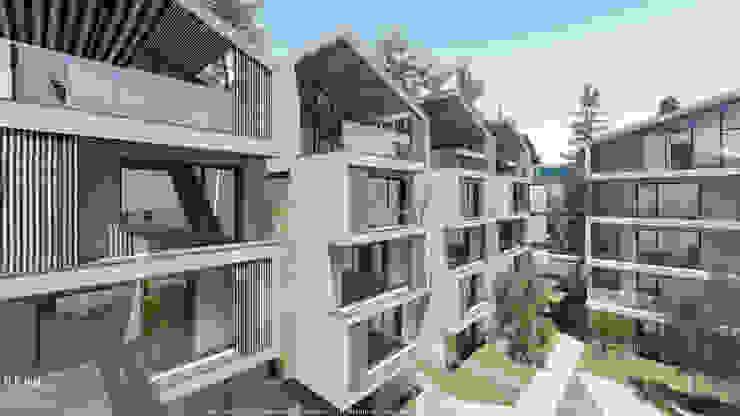 Volumes com cobertura inclinada em projeto de habitação colectiva Casas modernas por OGGOstudioarchitects, unipessoal lda Moderno