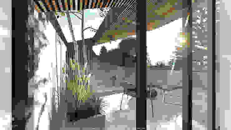 Varanda com vegetação no projecto de habitação colectiva Kerautret-Ducamp Varandas, marquises e terraços modernos por OGGOstudioarchitects, unipessoal lda Moderno