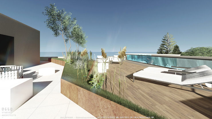Cobertura com piscina no projecto de habitação colectiva Kerautret-Ducamp Varandas, marquises e terraços modernos por OGGOstudioarchitects, unipessoal lda Moderno