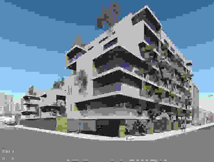 Esquina do projecto de habitação colectiva Kerautret-Ducamp Casas modernas por OGGOstudioarchitects, unipessoal lda Moderno