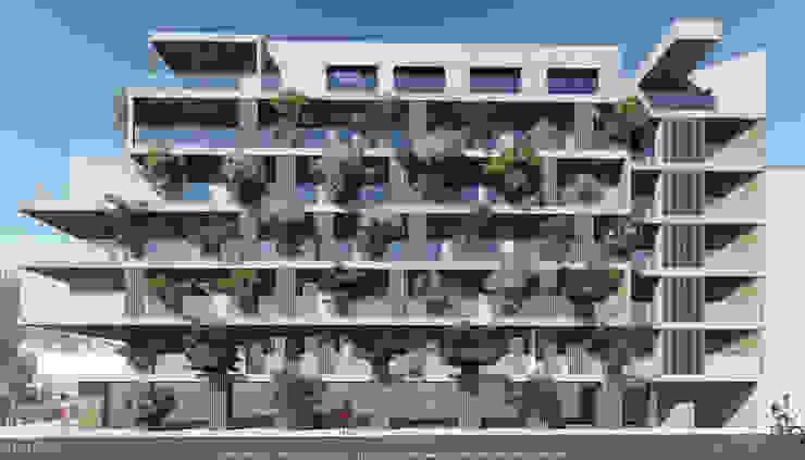 Fachada de edifício de habitação colectiva - Avenida Pierre Kerautret Casas modernas por OGGOstudioarchitects, unipessoal lda Moderno