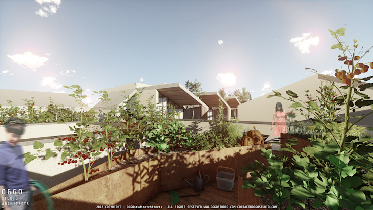 Hortas comunitárias do projecto de habitação colectiva Kerautret-Ducamp Jardins modernos por OGGOstudioarchitects, unipessoal lda Moderno