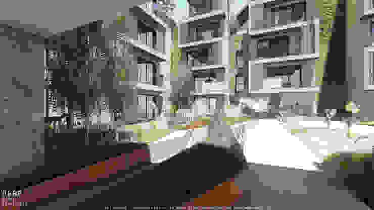 Jardins no projecto de habitação colectiva Kerautret-Ducamp Casas modernas por OGGOstudioarchitects, unipessoal lda Moderno