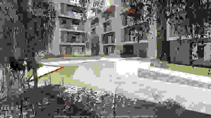 Praça central do projecto de habitação colectiva Kerautret-Ducamp Jardins modernos por OGGOstudioarchitects, unipessoal lda Moderno
