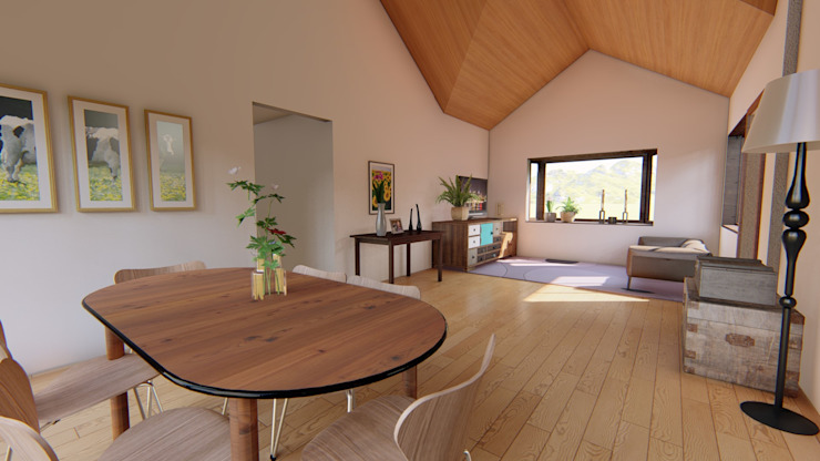 Rustic style dining room by Ekeko arquitectura - Coquimbo Rustic Engineered Wood Transparent