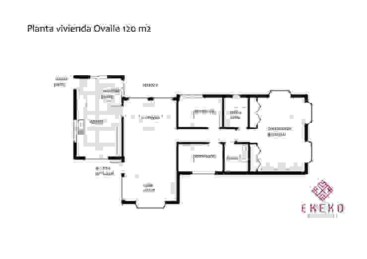 Plano vivienda 120 m2:  de estilo colonial por Ekeko arquitectura  - Coquimbo, Colonial