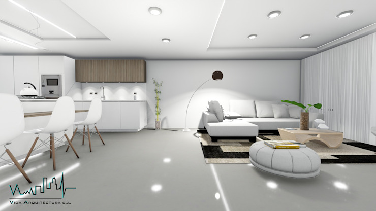 Remodelacion y diseño interior para apartamento Vida Arquitectura Salas de estilo moderno