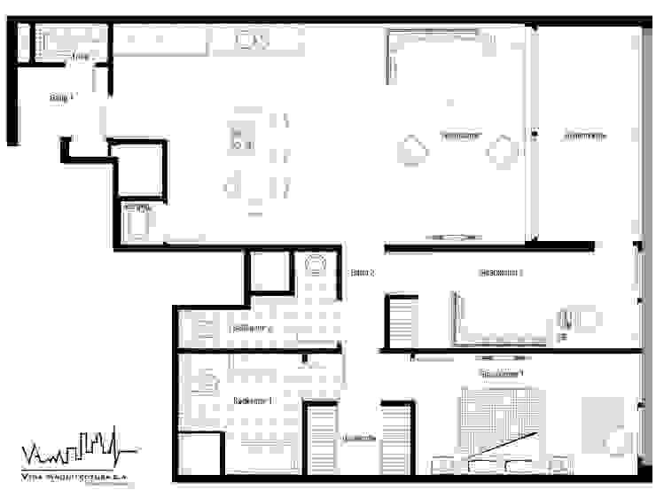 Remodelacion y diseño interior para apartamento Vida Arquitectura Cuartos de estilo moderno
