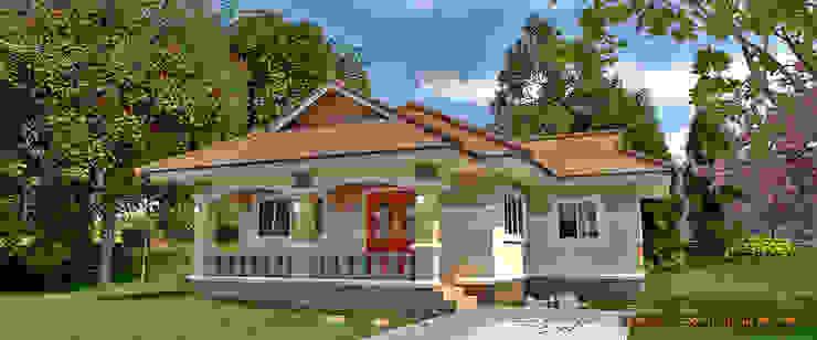 รูปโดยรวมตัวบ้าน โดย แบบบ้านออกแบบบ้านเชียงใหม่ ผสมผสาน คอนกรีต