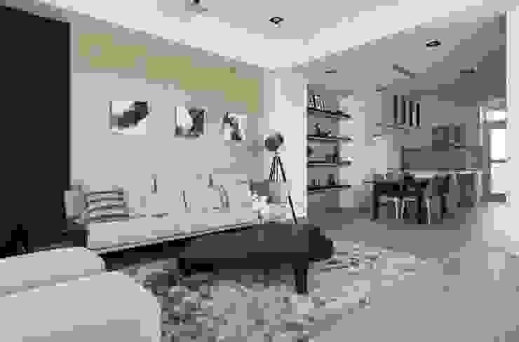 白牆 x 木皮延展客廳空間暖意 根據 湘頡設計 簡約風