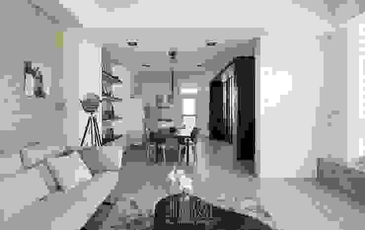 Phòng khách phong cách tối giản bởi 湘頡設計 Tối giản