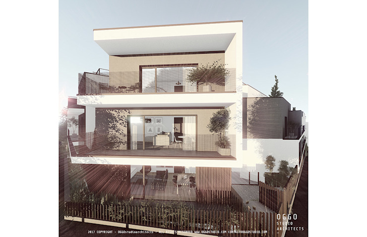 Grey building with white balconies Modern Houses by OGGOstudioarchitects, unipessoal lda Modern