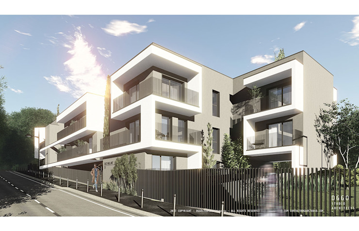 Elegant white balconies of a contemporary design 모던스타일 주택 by OGGOstudioarchitects, unipessoal lda 모던