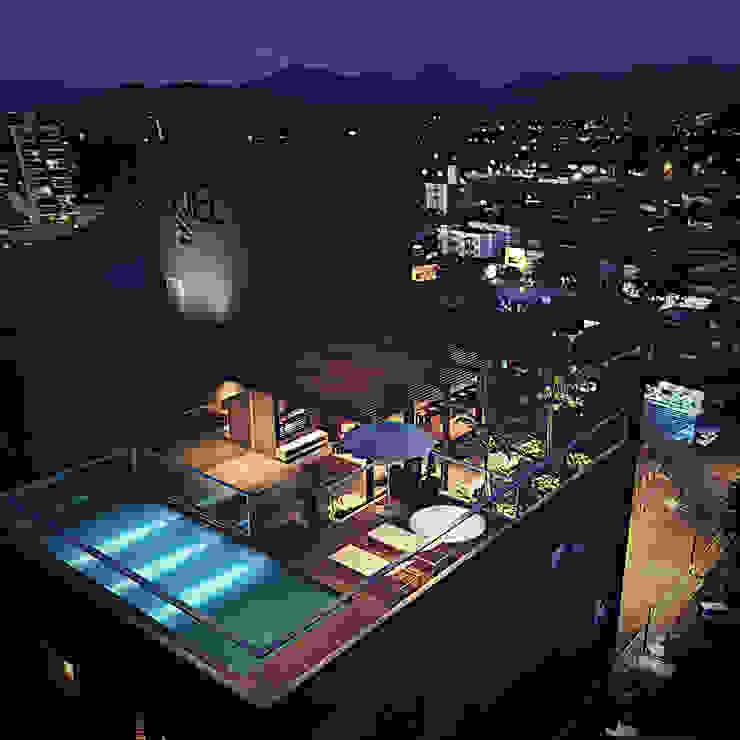 Cobertura com área de lazer Fran Arquitetura Varandas, alpendres e terraços modernos