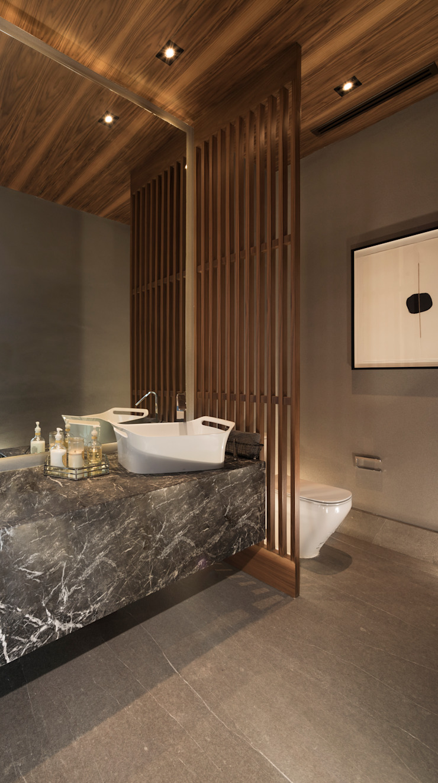 GLR Arquitectos Modern style bathrooms Marble Grey