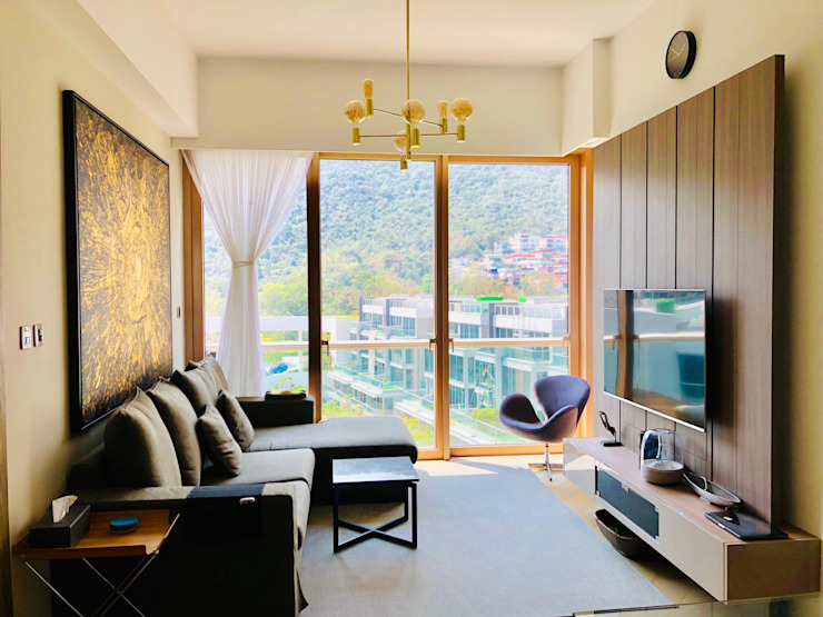 Mount Pavilia 傲瀧 | Clear Water Bay 西貢清水灣 | Hong Kong Modern living room by Nelson W Design Modern Plywood