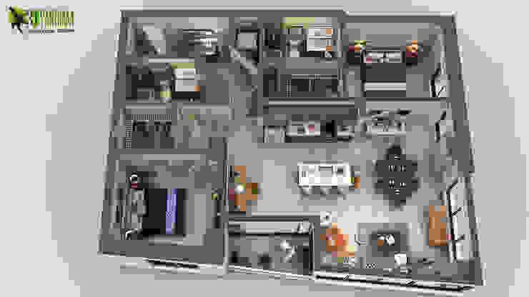 Unique Residential Apartment 3D Floor Plan Rendering Ideas by Yantram 3D Virtual Floor Plan Design, San Diego - USA por Yantram Architectural Design Studio Moderno