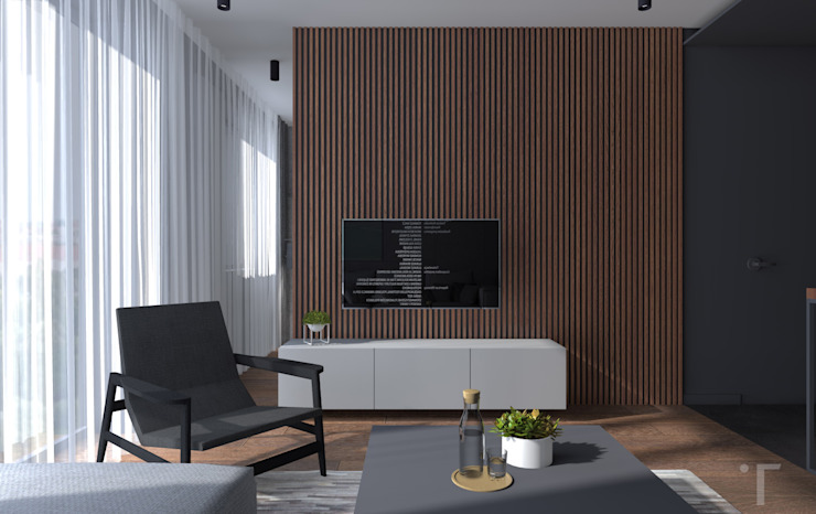KAWALERKA DLA MĘŻCZYZNY Nowoczesny salon od PRACOWNIA PROJEKTOWA TAMAS Nowoczesny