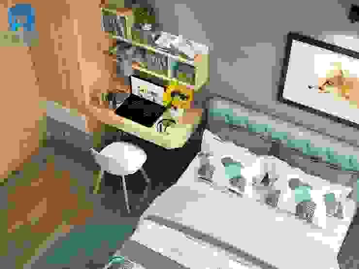Phòng ngủ khá đơn giản với gam màu chủ đạo là xám của tường và nâu vàng của tủ đồ Phòng ngủ phong cách hiện đại bởi Công ty TNHH Nội Thất Mạnh Hệ Hiện đại