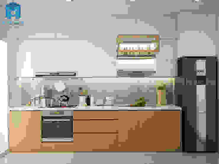 bếp được thiết kế gắn liền với không gian phòng khách bởi Công ty TNHH Nội Thất Mạnh Hệ Hiện đại