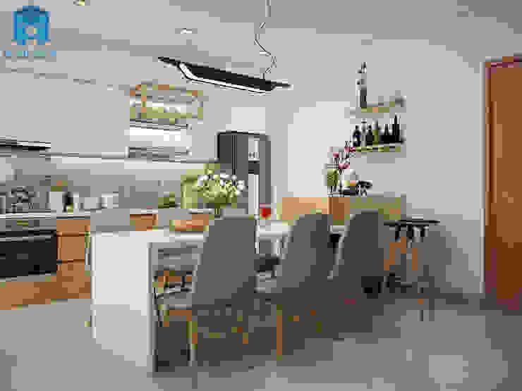 Phòng bếp nhỏ nhưng lại được trang bị khá đầy đủ vật dụng cần thiết Phòng ăn phong cách hiện đại bởi Công ty TNHH Nội Thất Mạnh Hệ Hiện đại