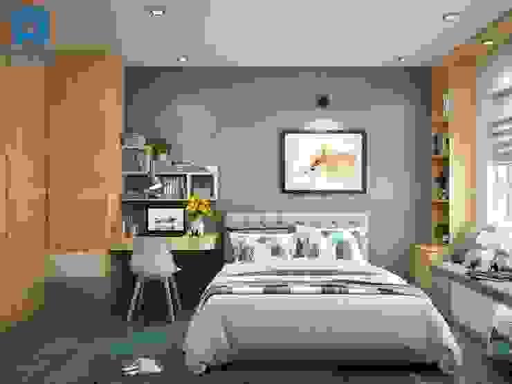 Phòng ngủ khá đơn giản với gam màu chủ đạo là xám của tường màu xanh và nâu vàng của tủ đồ Phòng ngủ phong cách hiện đại bởi Công ty TNHH Nội Thất Mạnh Hệ Hiện đại