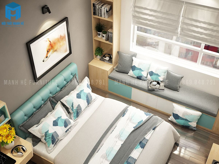 Thiết kế nội thất phòng ngủ nhìn từ trên xuống Phòng ngủ phong cách hiện đại bởi Công ty TNHH Nội Thất Mạnh Hệ Hiện đại