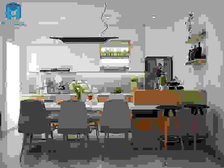 Không gian toàn bộ nội thất bếp cũng như bàn ăn Phòng ăn phong cách hiện đại bởi Công ty TNHH Nội Thất Mạnh Hệ Hiện đại