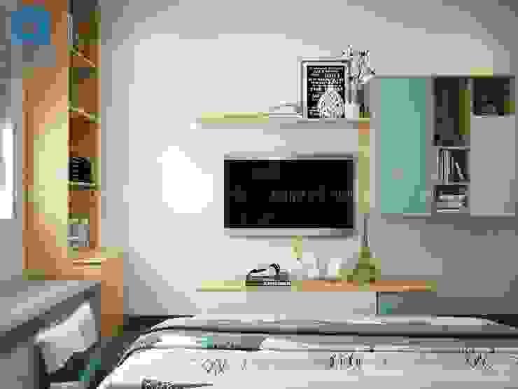 Kệ tivi phòng ngủ khá đơn giản với gam màu phối xanh độc đáo Phòng ngủ phong cách hiện đại bởi Công ty TNHH Nội Thất Mạnh Hệ Hiện đại