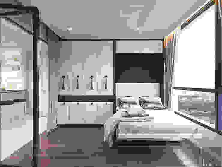 Thiết kế căn hộ Landmark 2 Vinhomes Central Park – Phong cách Tân Cổ Điển Phòng khách phong cách kinh điển bởi ICON INTERIOR Kinh điển