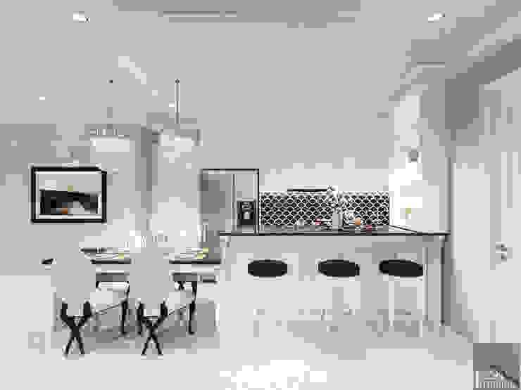 Thiết kế căn hộ Landmark 2 Vinhomes Central Park – Phong cách Tân Cổ Điển Phòng ăn phong cách kinh điển bởi ICON INTERIOR Kinh điển