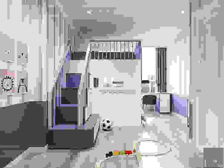 Thiết kế căn hộ Landmark 2 Vinhomes Central Park – Phong cách Tân Cổ Điển Phòng trẻ em phong cách kinh điển bởi ICON INTERIOR Kinh điển