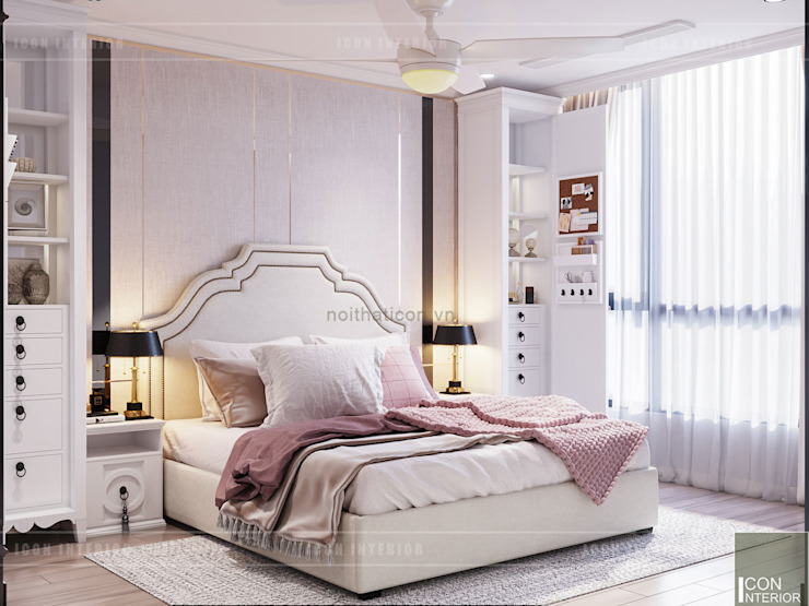 Thiết kế căn hộ Landmark 2 Vinhomes Central Park - Phong cách Tân Cổ Điển Phòng ngủ phong cách kinh điển bởi ICON INTERIOR Kinh điển