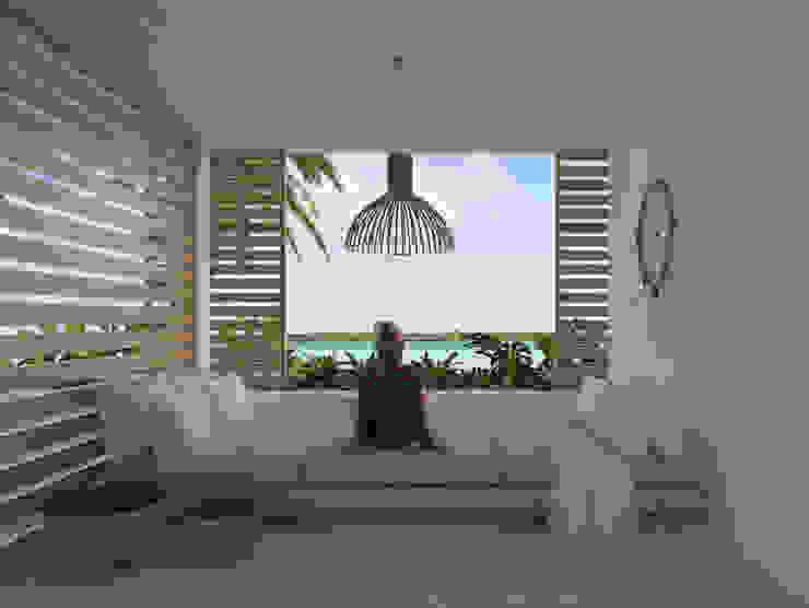 Casa Mara - Bacalar, Quintana Roo. Salones tropicales de Obed Clemente Arquitecto Tropical Concreto