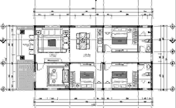 Bản vẽ nhà ống 1 tầng 3 phòng ngủ 1 phòng thờ bởi Công Ty Wedo