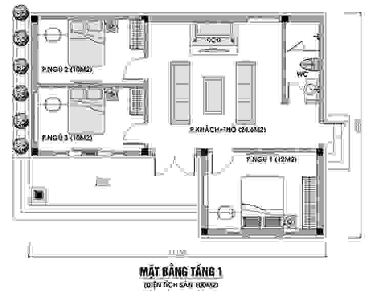 Bản vẽ nhà cấp 4 3 phòng ngủ 1 phòng thờ truyền thống bởi Công Ty Wedo