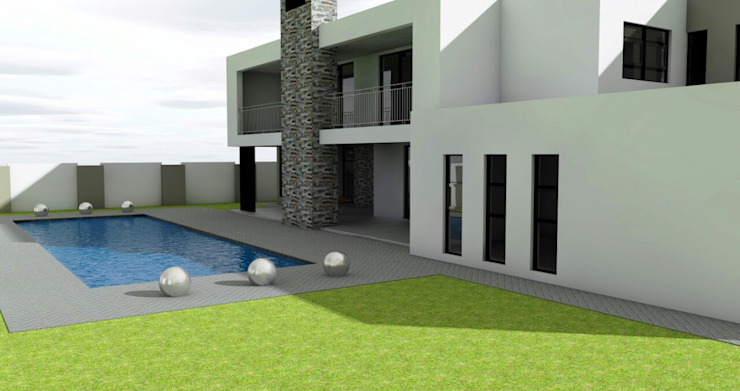 garden and pool area homify Modern houses