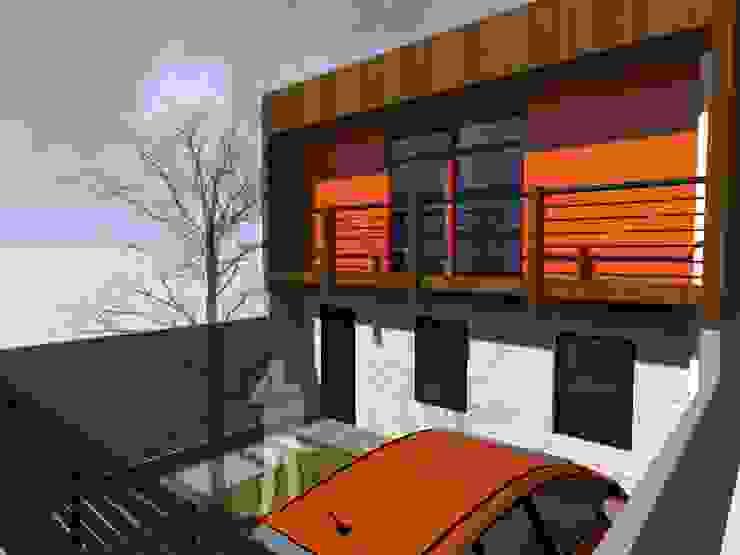 Ampliación Vivienda Social de Vicente Espinoza M. - Arquitecto Moderno Madera Acabado en madera