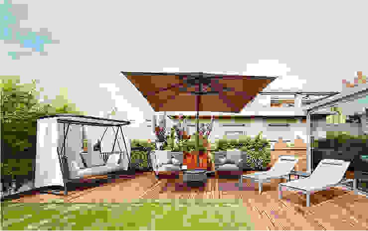 Terraza Balcones y terrazas de estilo moderno de JSV-Architecture Moderno Madera Acabado en madera